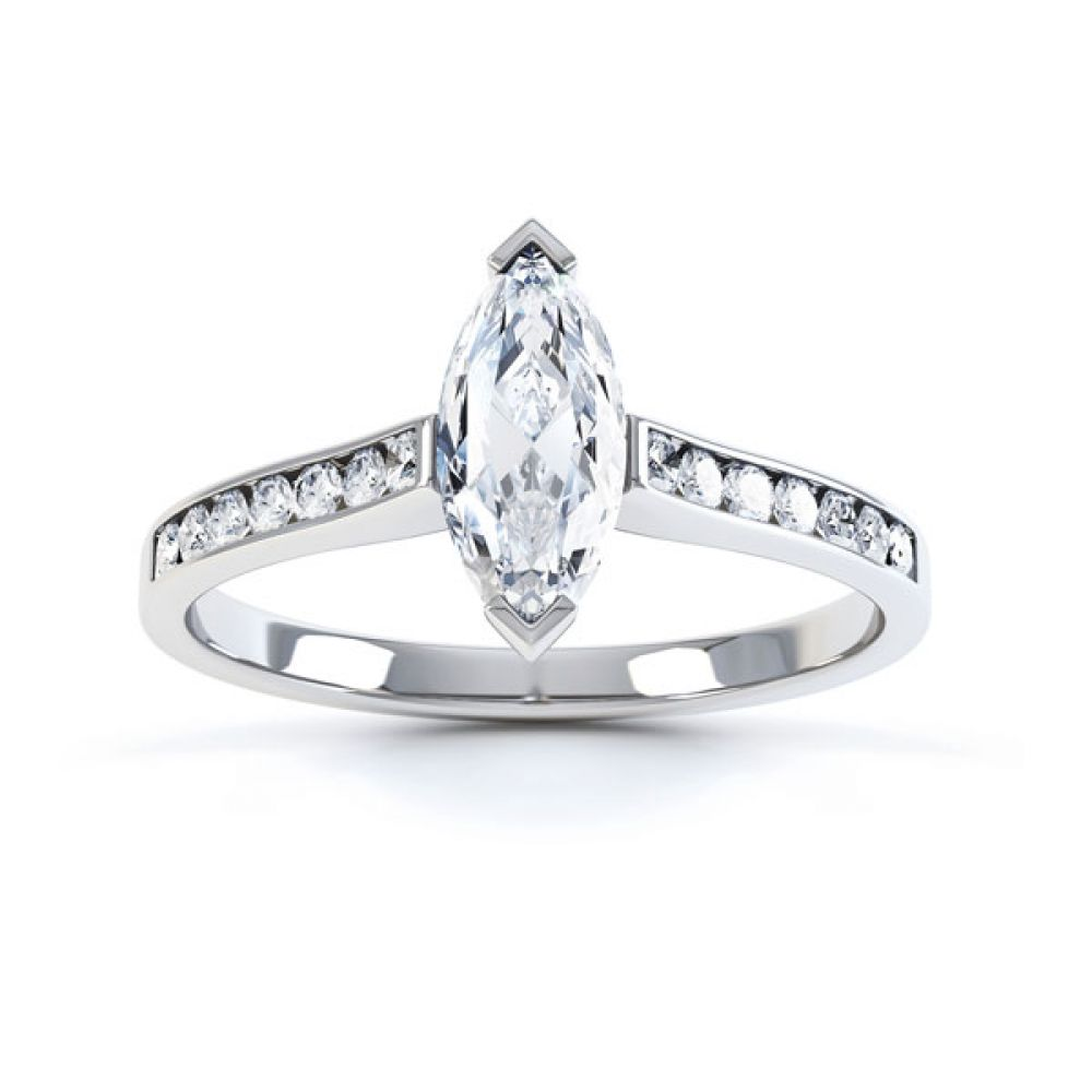 Marquise Engagement Ring with Diamond Shoulders Top View