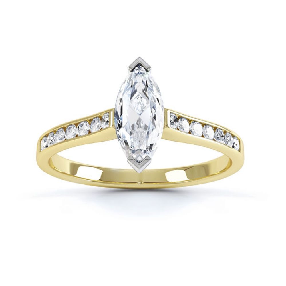 Marquise Engagement Ring with Diamond Shoulders Top View In Yellow Gold