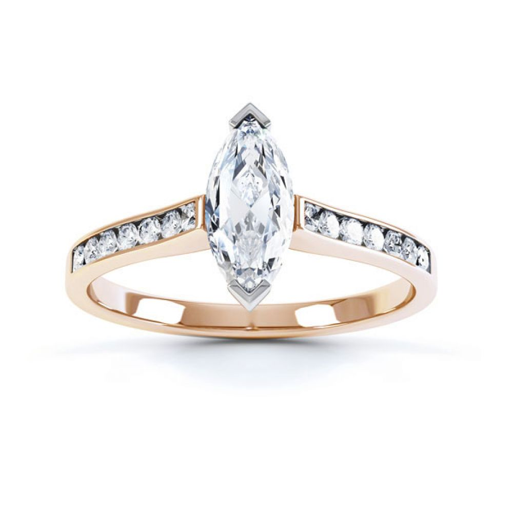 Marquise Engagement Ring with Diamond Shoulders Top View In Rose Gold