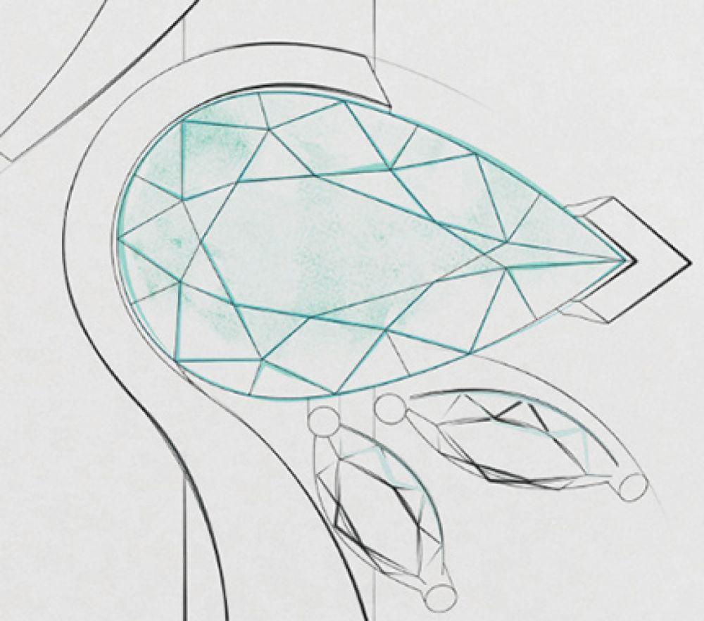 Bespoke Green Sapphire and Diamond Ring Sketch