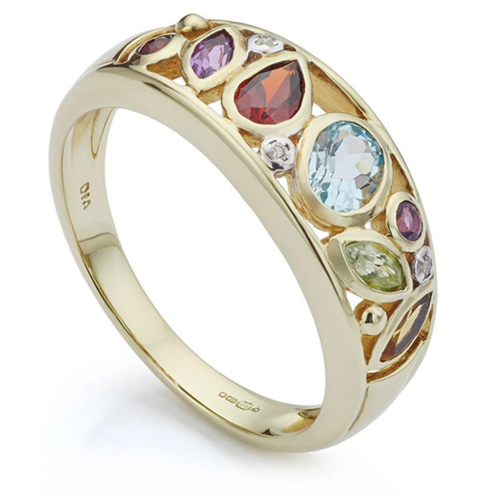 Cherished Yellow Gold Mixed Gemstone Ring