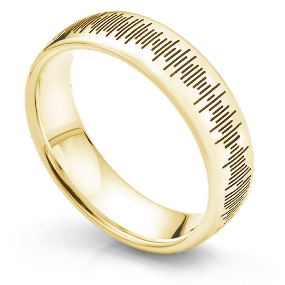 Sound Pattern Ring in Yellow Gold