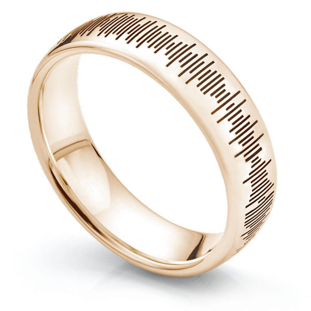 Sound Pattern Ring in Rose Gold