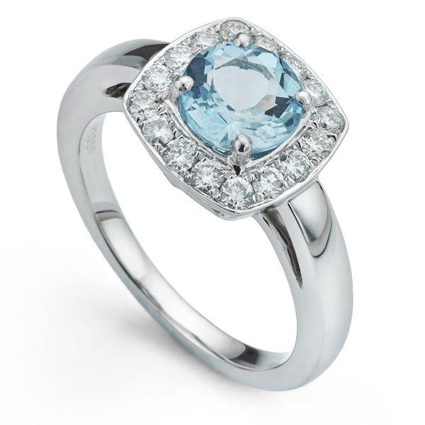 Platinum Aquamarine & Diamond Ring Main Image