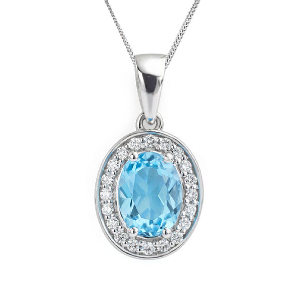 Blue Topaz and diamond halo necklace