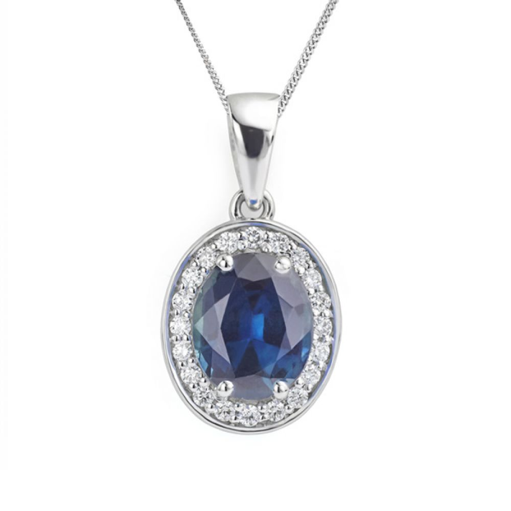 oval blue sapphire and diamond halo pendant