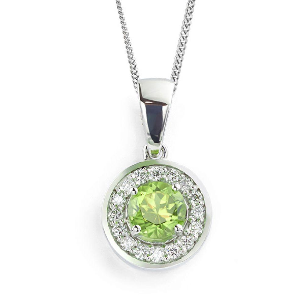 Peridot and diamond halo pendant