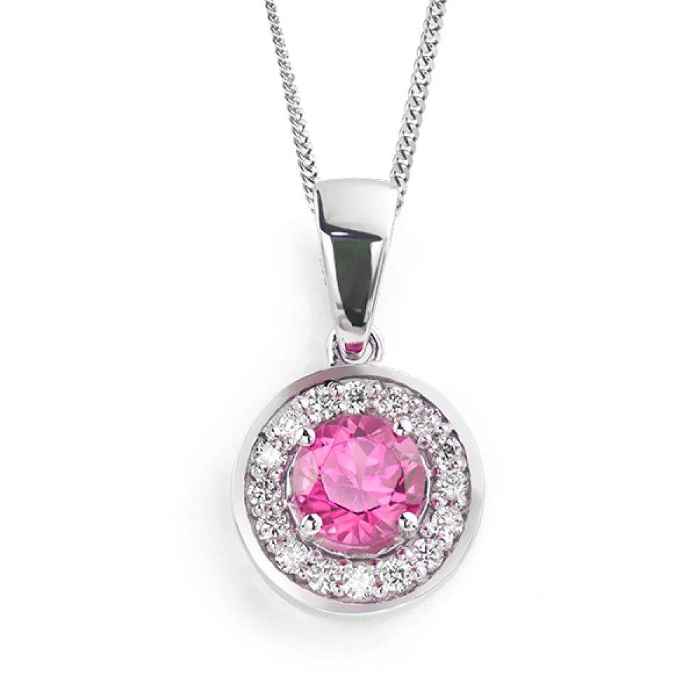 Pink Sapphire and Diamond Halo Pendant