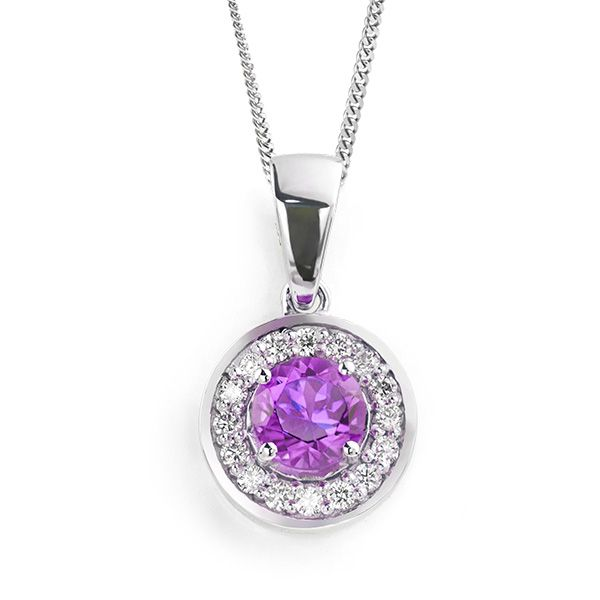 Amethyst & Diamond Halo Pendant Main Image