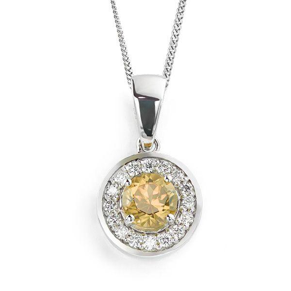 Citrine and Diamond Halo Necklace Main Image