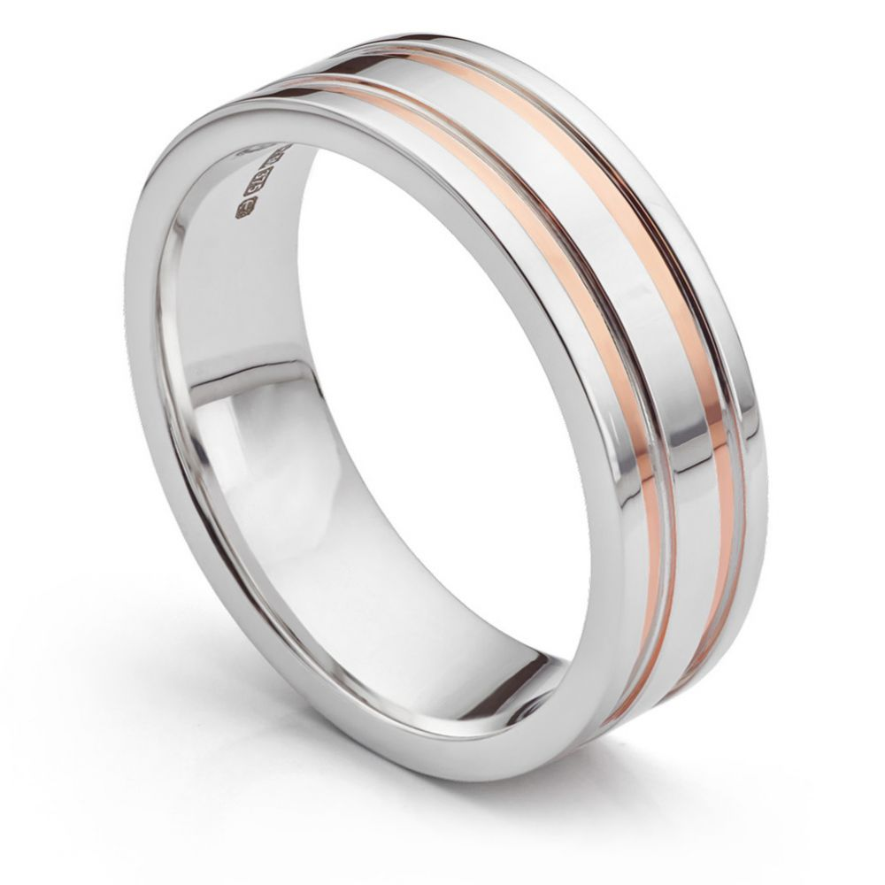 Men's two colour rose gold and white gold wedding ring perspective view