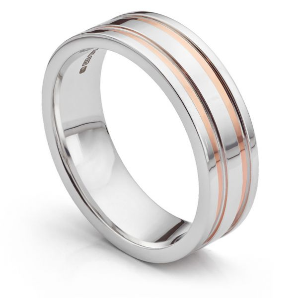 Inlaid Rose and White Gold Wedding Ring Main Image