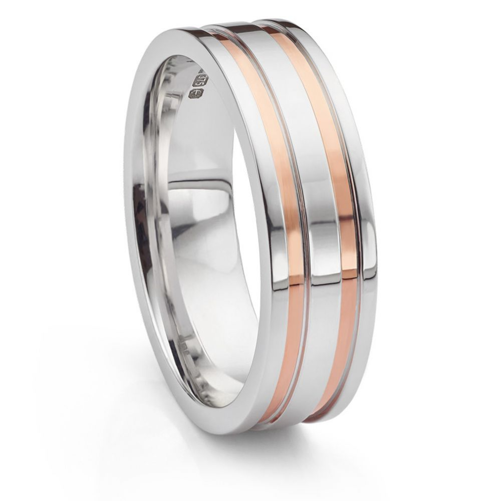Men's rose and white gold wedding ring upright view