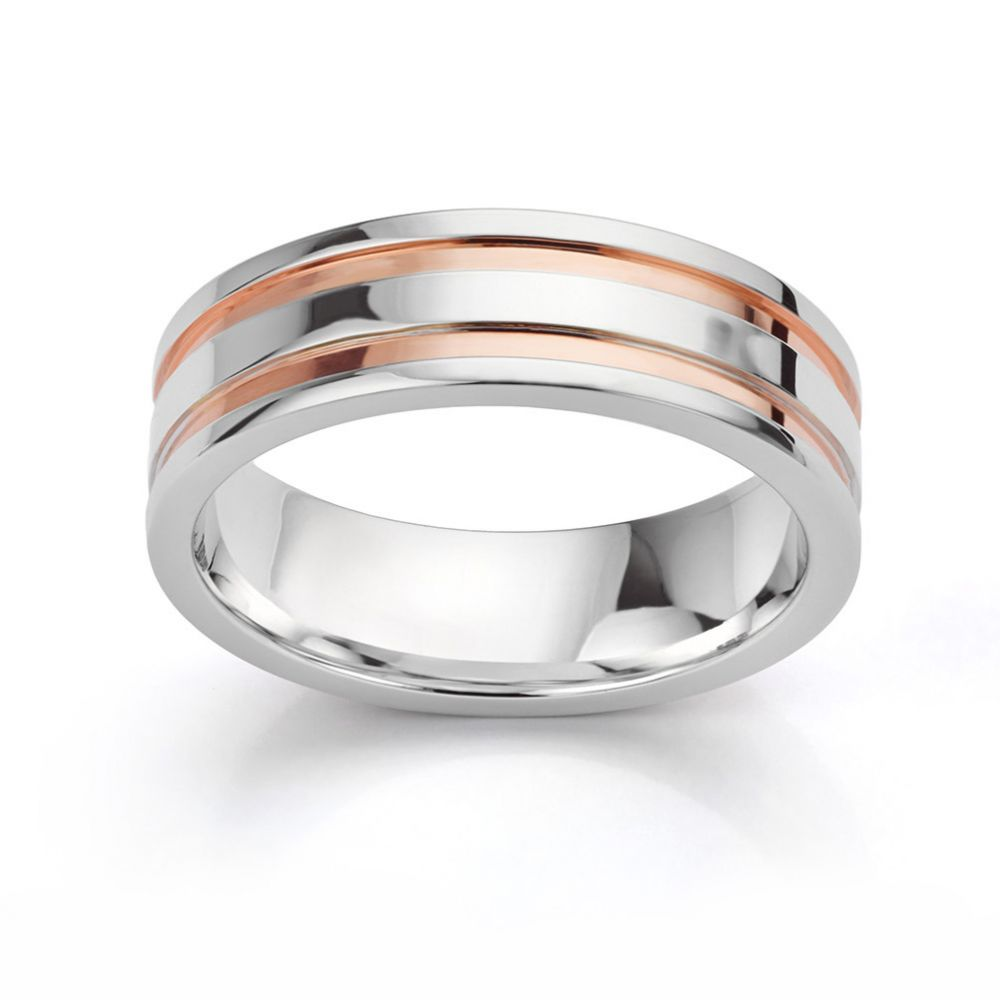 Men's white and rose gold wedding ring horizontal view