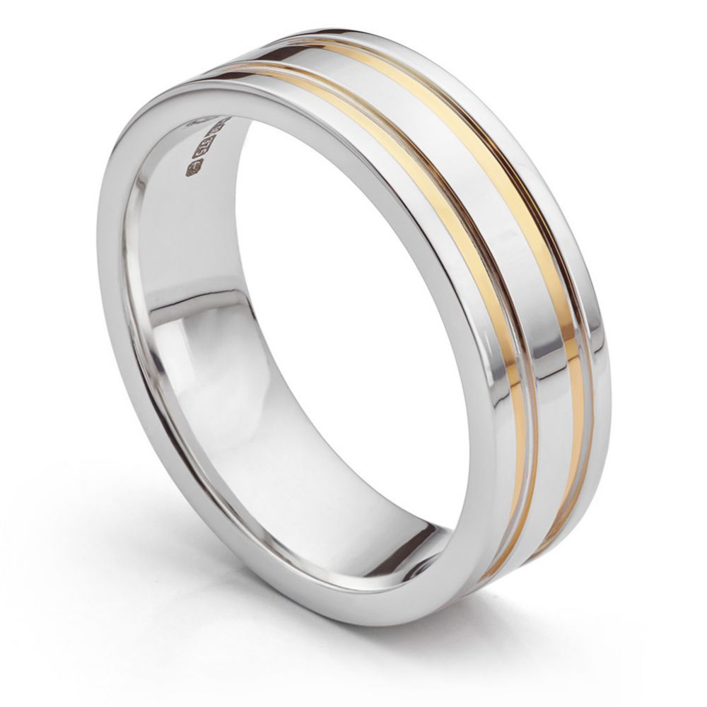 Inlaid yellow and white gold wedding ring perspective view