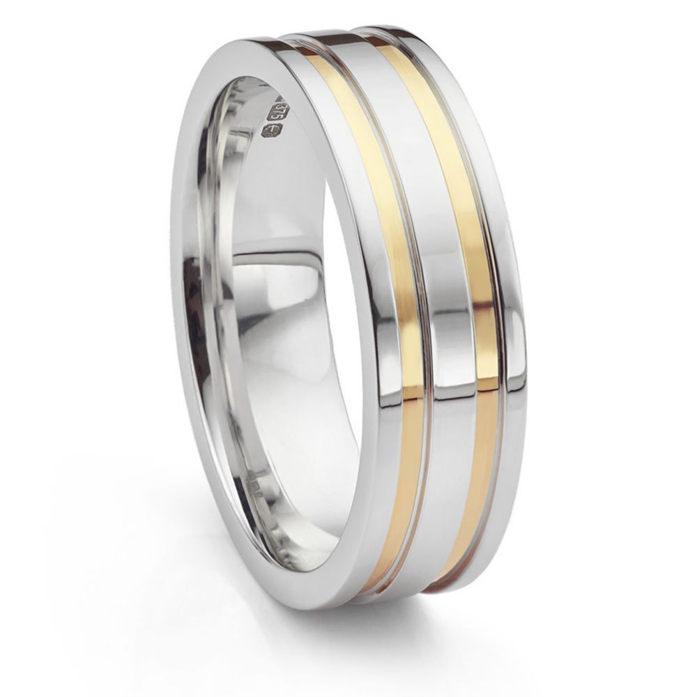 Inlaid yellow and white gold wedding ring upright view