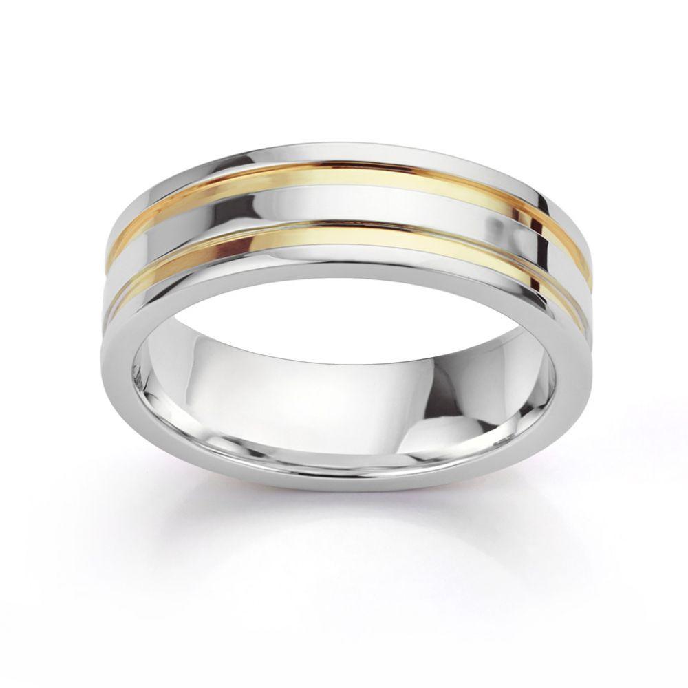 Inlaid yellow and white gold wedding ring horizontal view