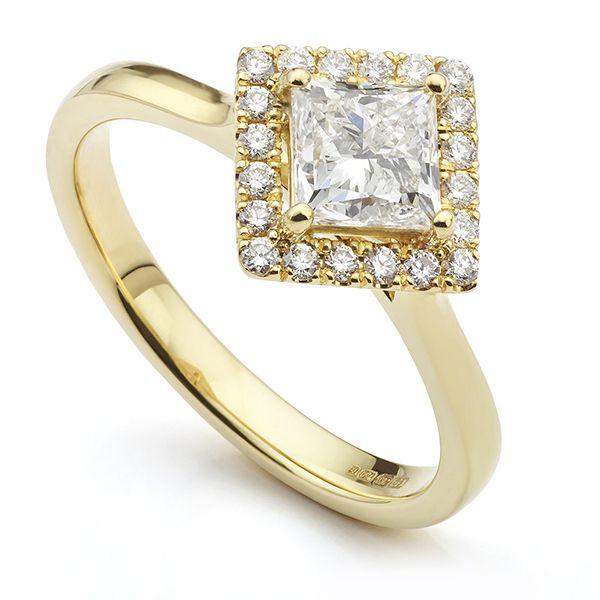 Yellow Gold Halo Engagement Ring Main Image