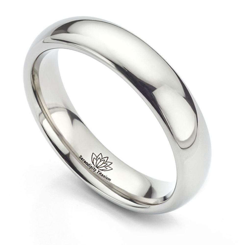 5mm Domed Titanium Wedding Ring