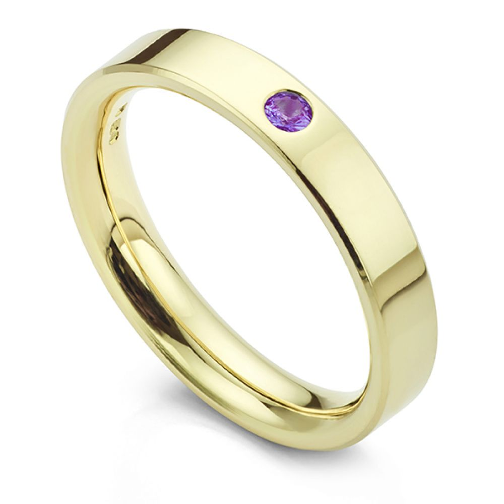 Amethyst wedding ring yellow gold