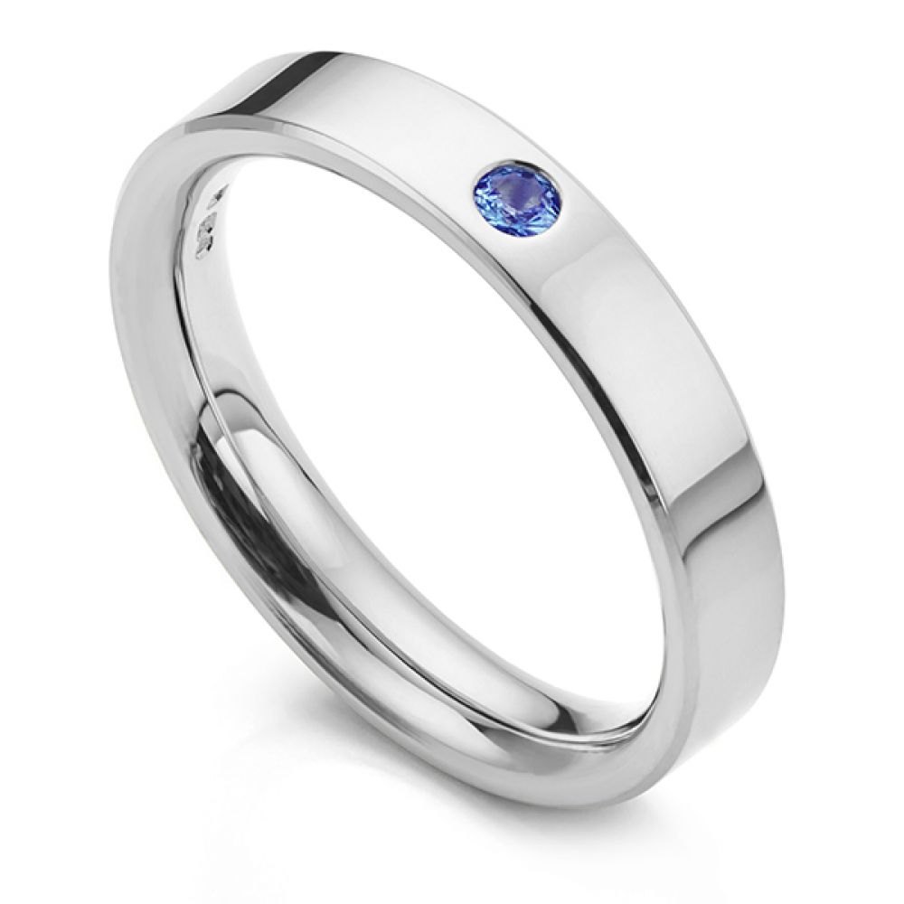 Blue sapphire wedding ring in white gold