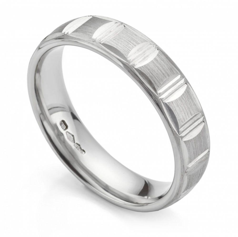 Mens Platinum Patterned Wedding Ring