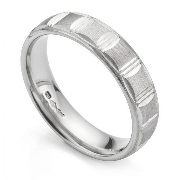 Men's Platinum Patterned Wedding Ring Main Image