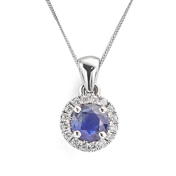 Round Blue Sapphire & Diamond Halo Pendant Main Image