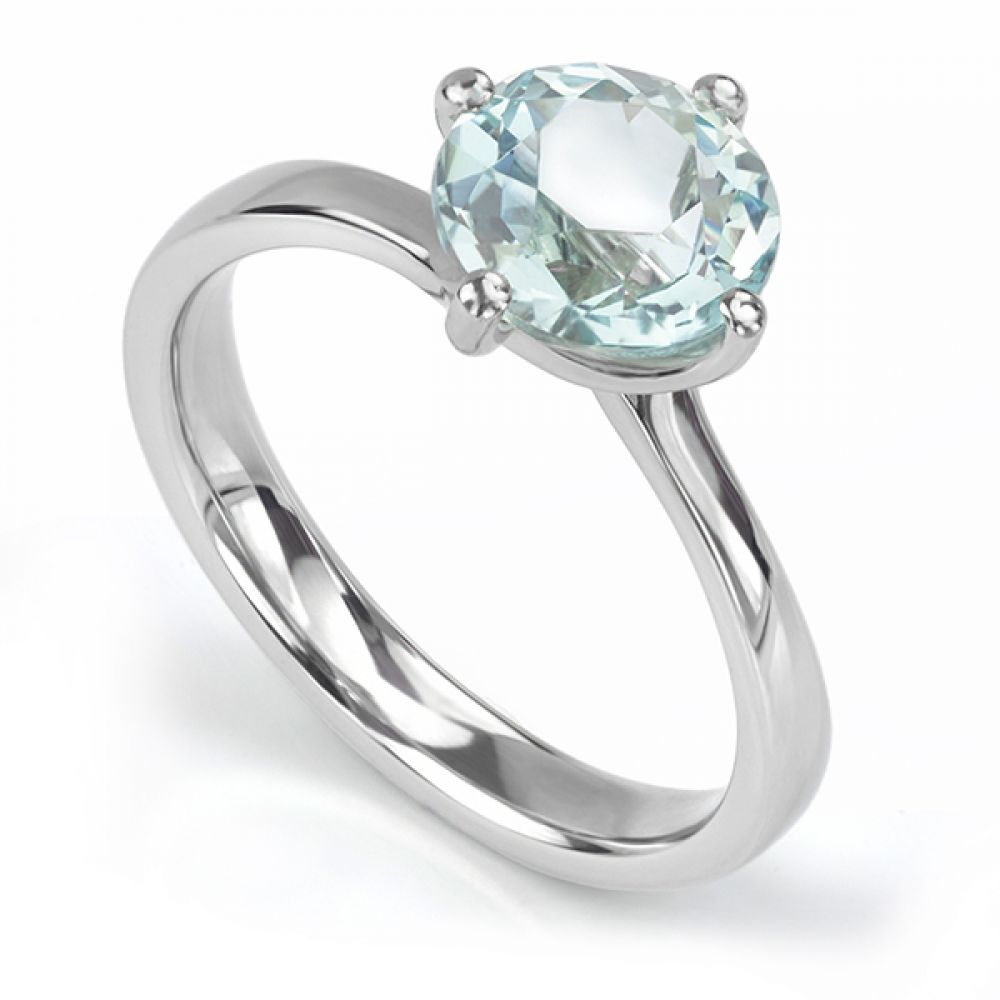 Bespoke Aquamarine Twist Engagement Ring
