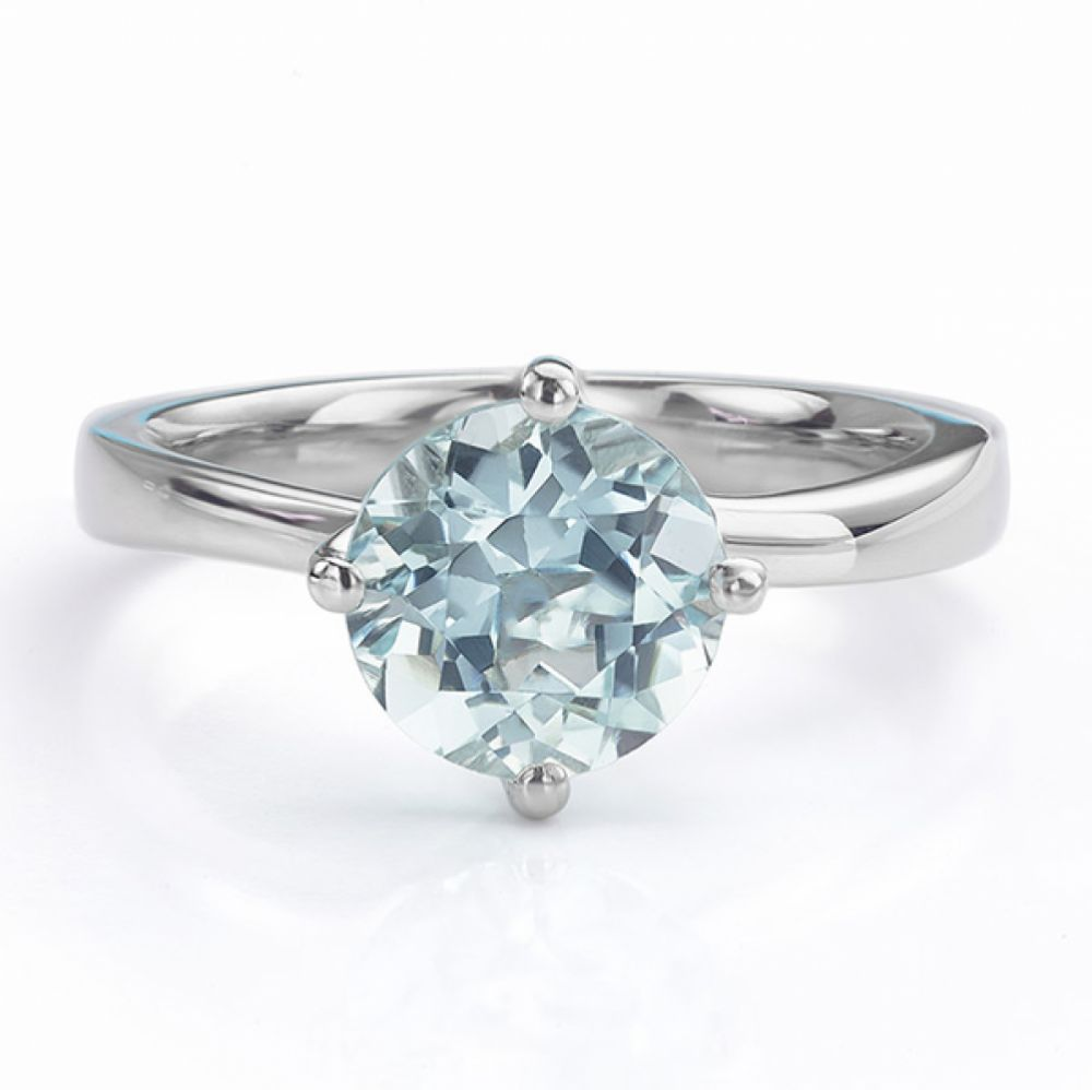 Aquamarine Twist Engagement Ring front view