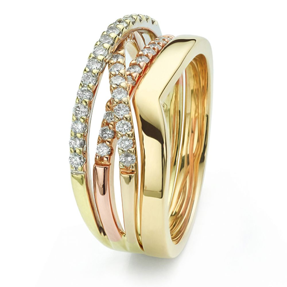 V shaped wedding ring in yellow gold fitted to engagement ring