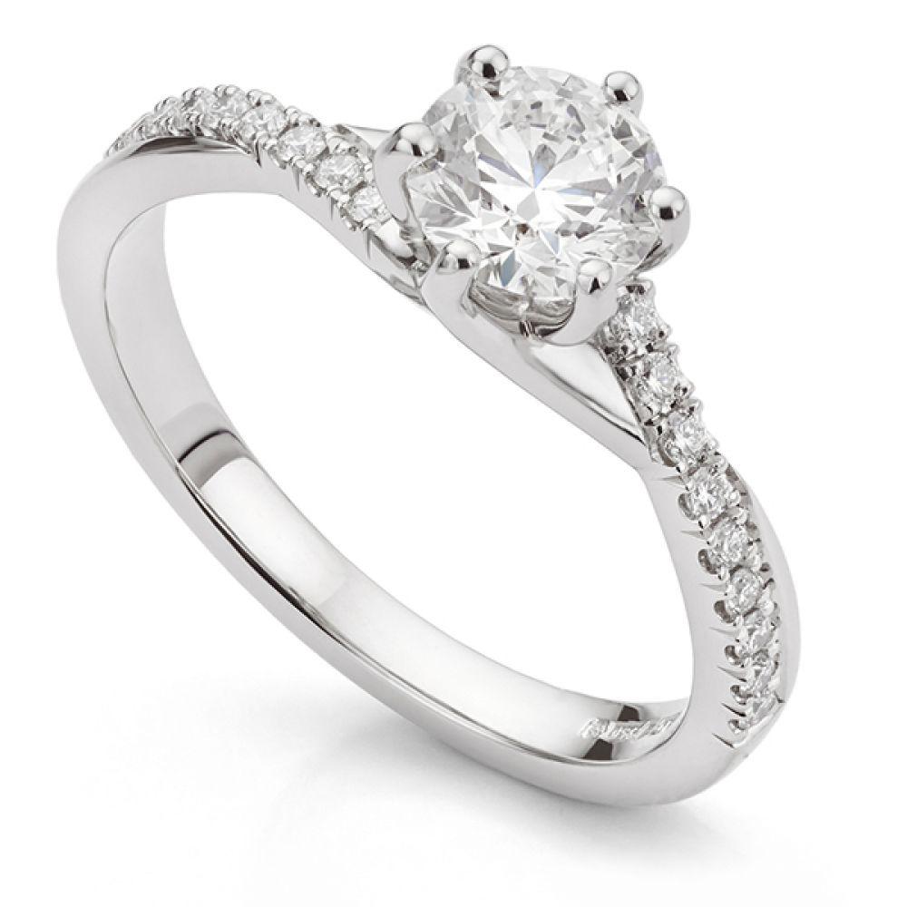 Bespoke twist engagement ring in Platinum