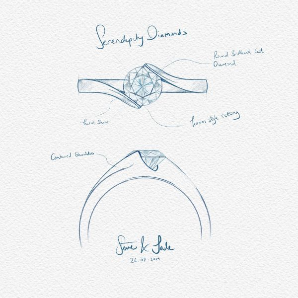 Hand-Drawn Engagement Ring Sketch Main Image
