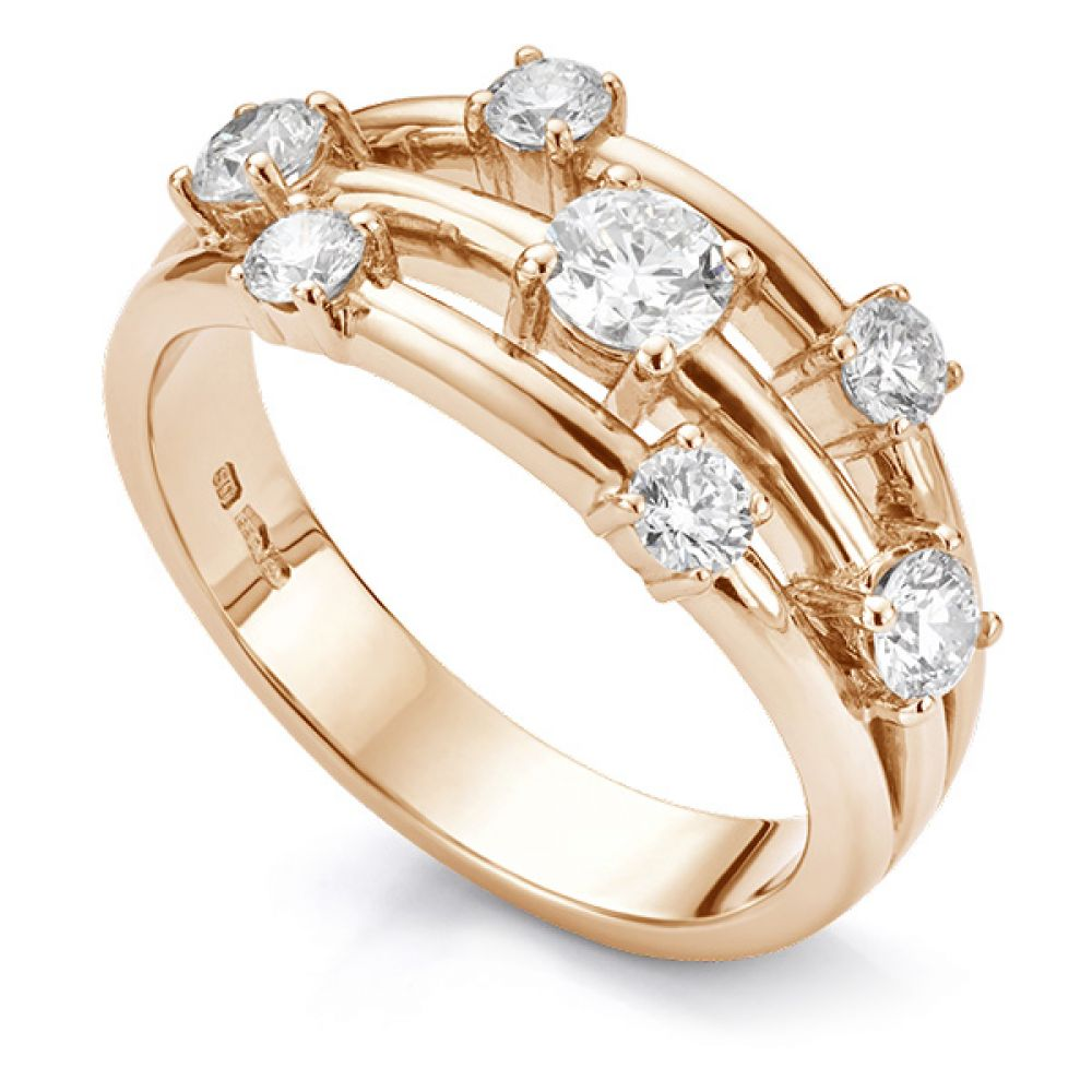 Rainstorm 7 stone diamond scatter ring rose gold