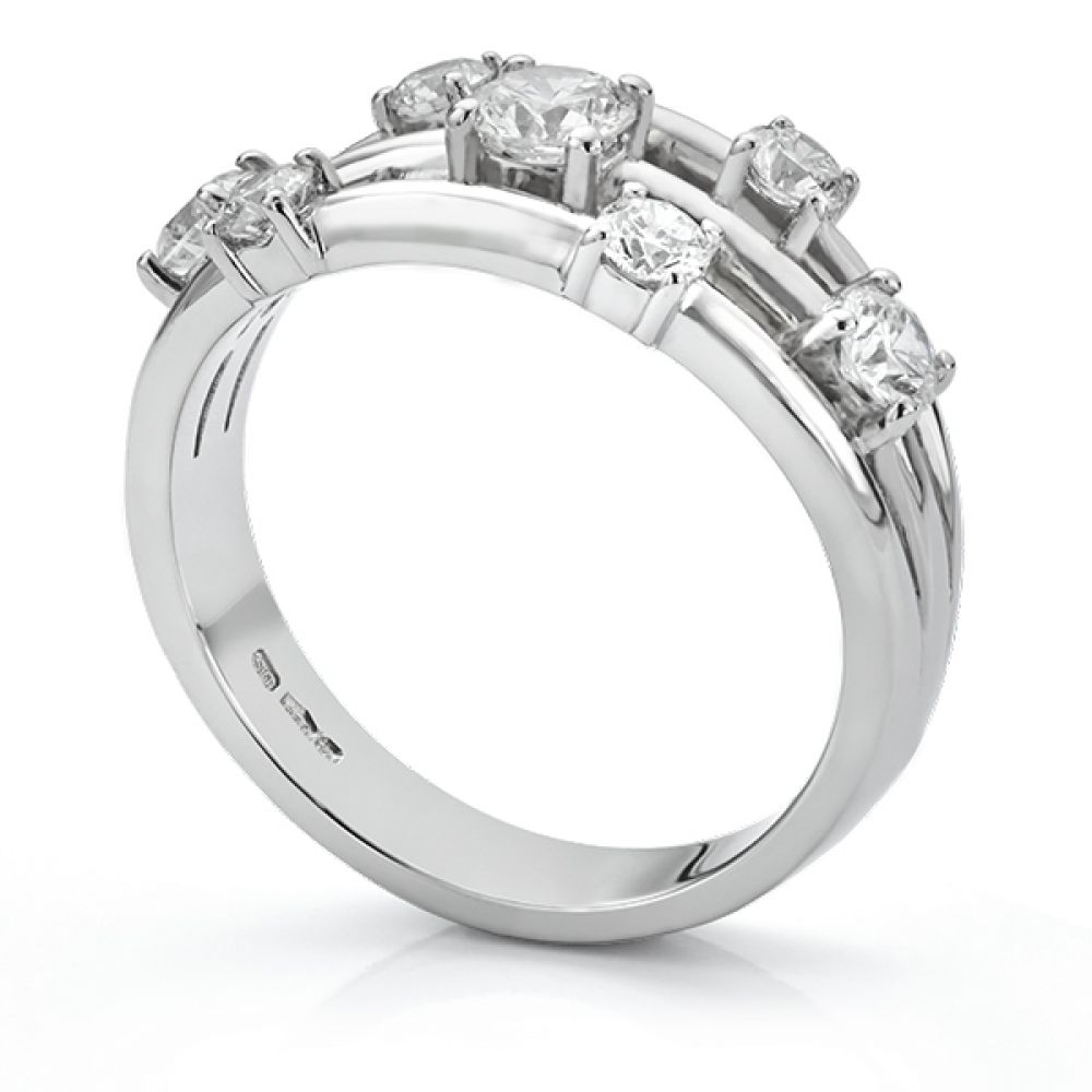 Rainstorm 7 stone diamond scatter ring side view platinum