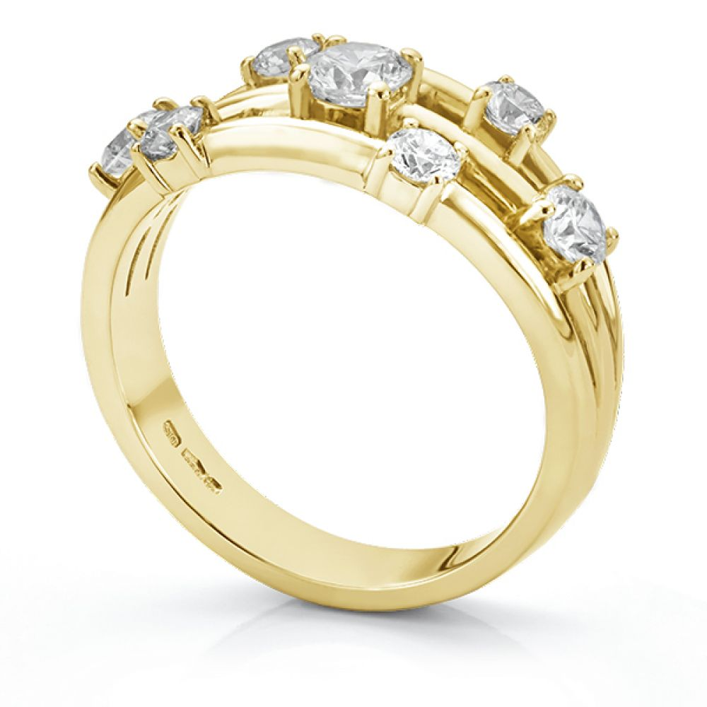 Rainstorm 7 stone diamond scatter ring side view yellow gold