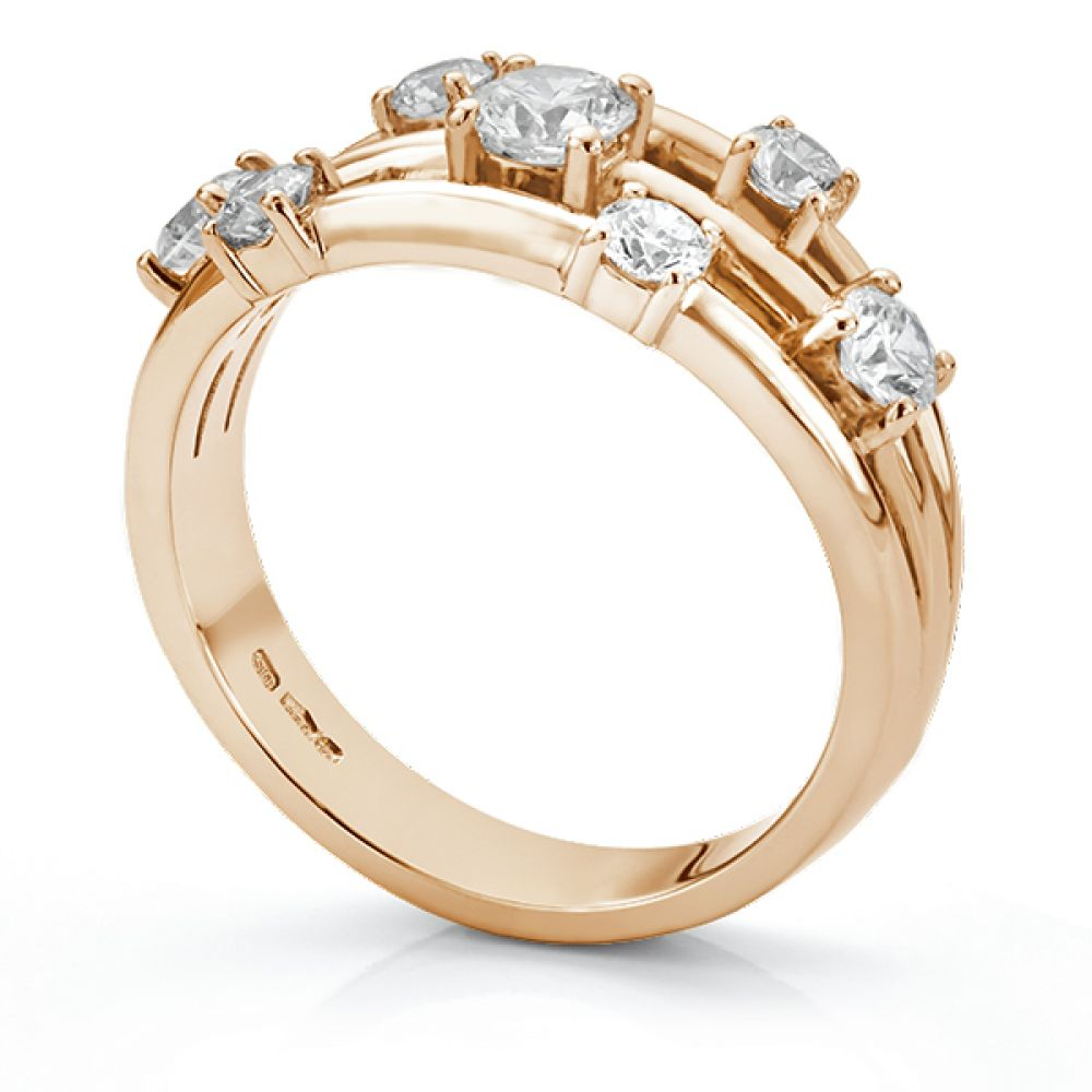 Rainstorm 7 stone diamond scatter ring side view rose gold