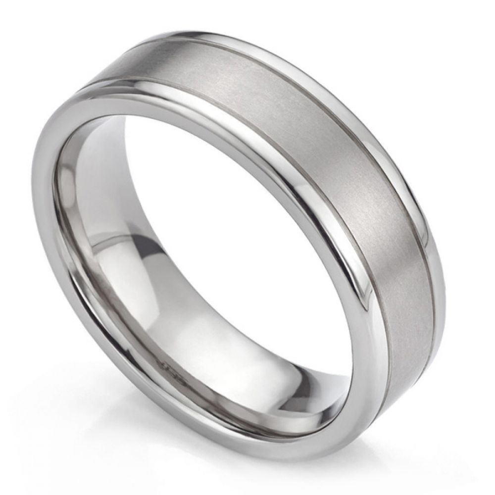 Titanium ashes ring with mirror and satin finish