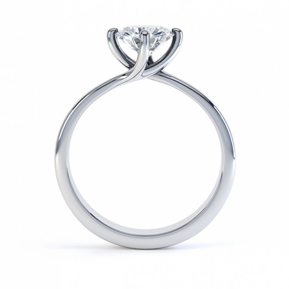Twist engagement ring side view