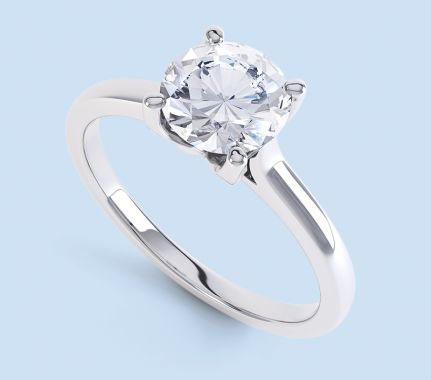 Solitaire ring designs with round brilliant cut diamonds