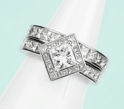 Princess cut engagement ring with halo setting