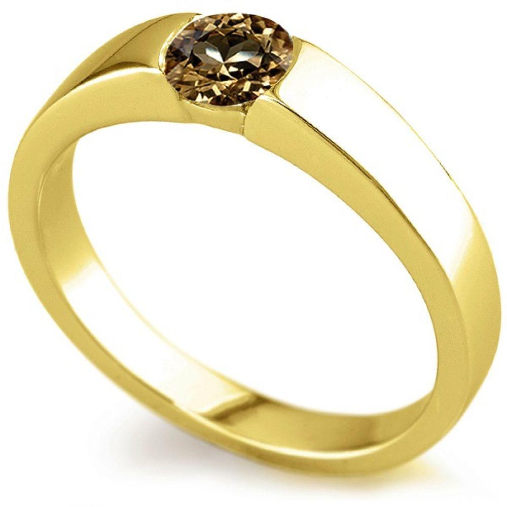 Natural Brown Tension Set Diamond Ring