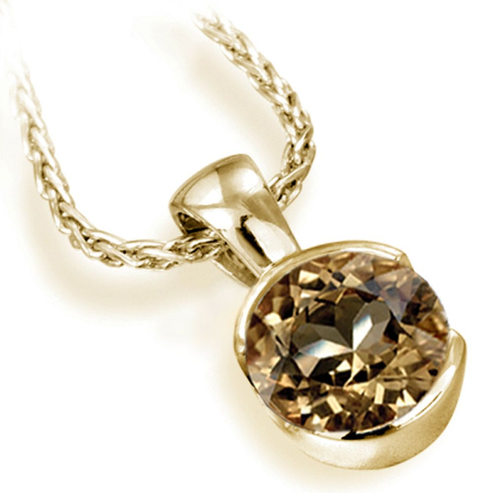 Fancy Brown Bezel Pendant with Spiga Chain