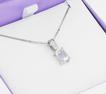 Diamond Pendants - Emerald Diamond Solitaire
