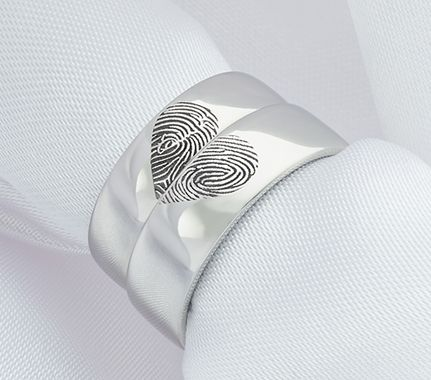 His and hers fingerprint wedding ring set