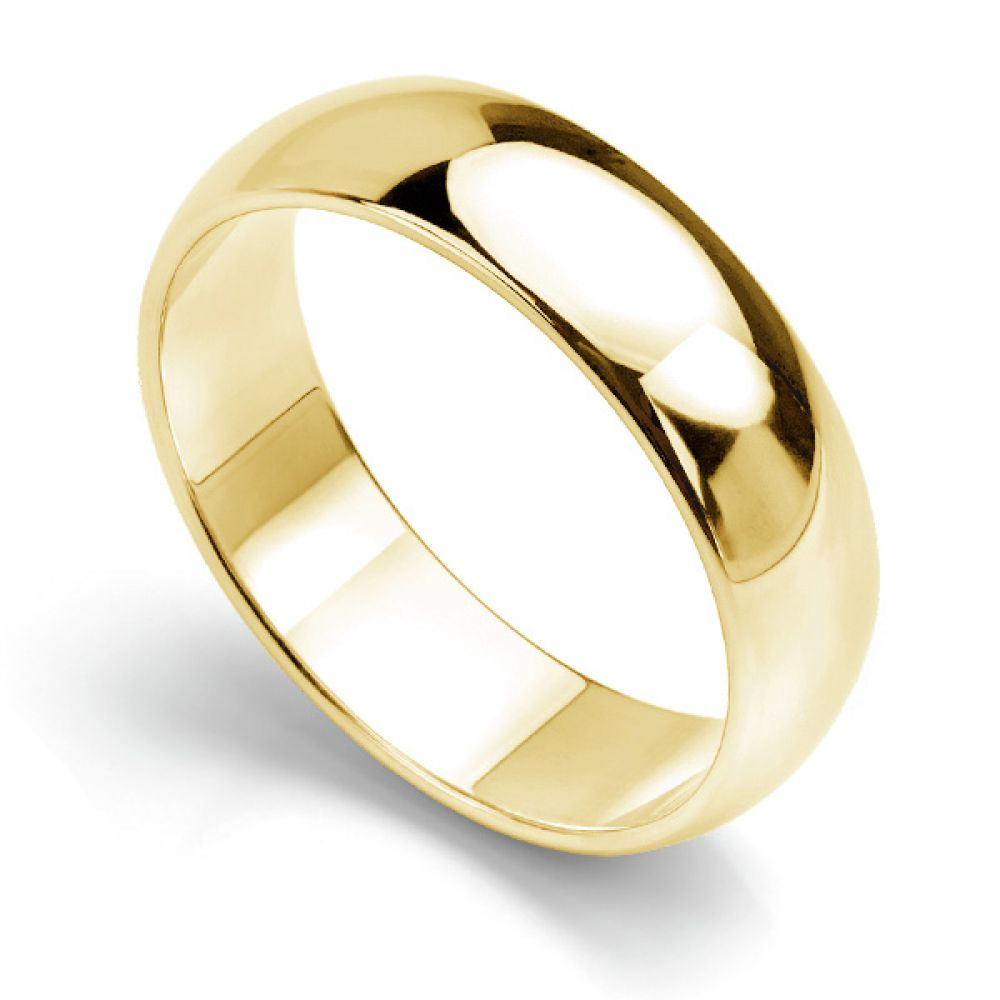 D shaped wedding ring low dome band yellow gold