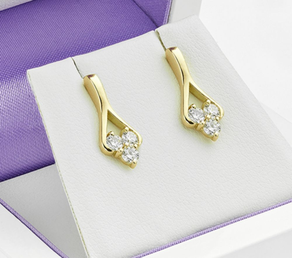 3 Stone Diamond Drop Earrings