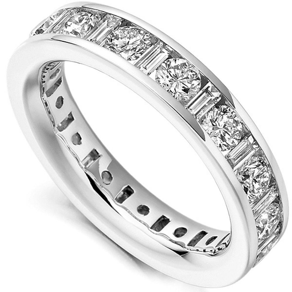 3 Carat Baguette and Round Diamond Eternity Ring