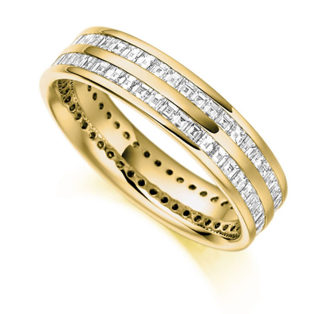 1.5 ct 2 Row Carré Cut Full Diamond Eternity Ring In Yellow Gold