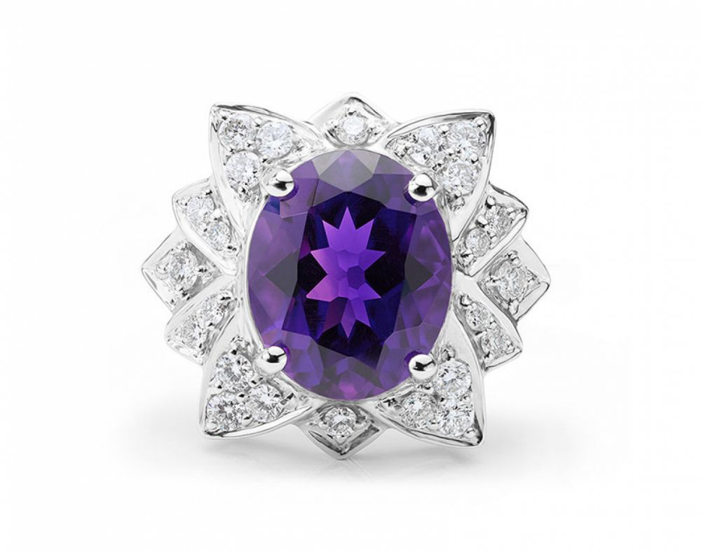 Amethyst and Diamond Flower Ring